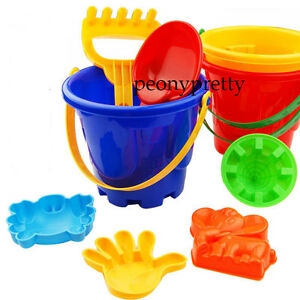 set-of-7-beach-seaside-kid-bucket-spade-rake-kit-sand-building-molds-fun-toy