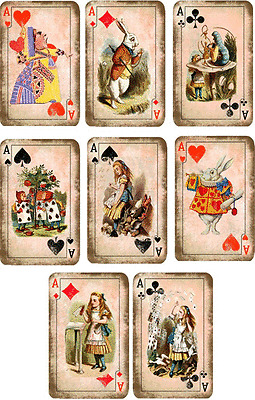 Vintage inspired 8 Alice in Wonderlad playing cards with envelopes party favor