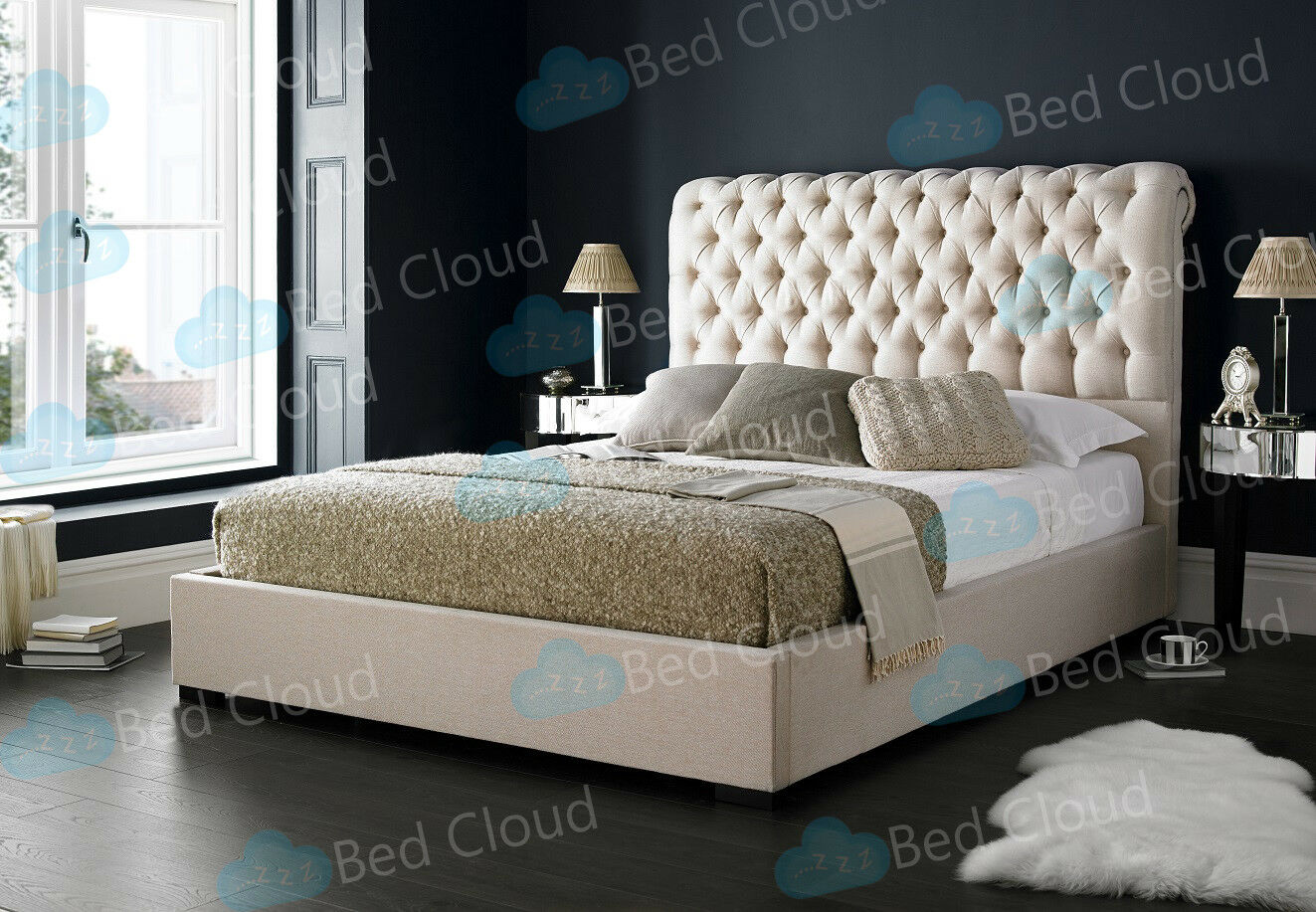 Alaska 6ft Super King Bed With Chesterfield Scrolled Headboard Various Colours Ebay
