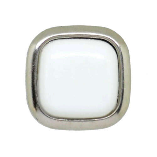 WHITE SILVER RIM SQUARE SHANK BUTTONS 16mm