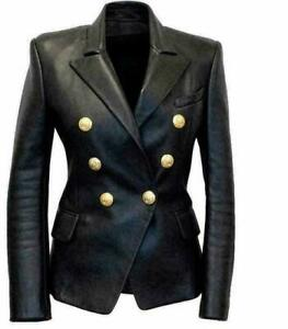 Womens-Kim-Kardashian-Black-Double-Breasted-Slim-Fit-Real-Leather-Jacket-Blazer