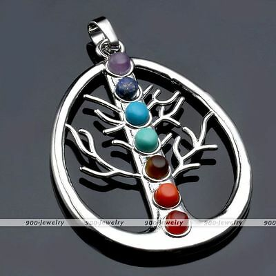1x 7 Resin Tree of Life Healing Chakra Gemstone Point Bead Divine Charms Pendant