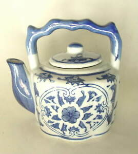 Blue-and-White-Decorative-Small-Teapot-Tea-Pot-with-Fixed-Glass-Handle-NEW