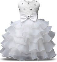 2t Fancy Party Dress Wedding Flower Girl Girls Outfit Pageant White Princess
