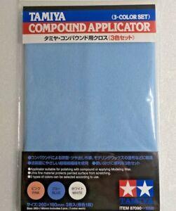 Tamiya 87090 Compound Applicator Cloth Model Finishing Polishing 3 Color Set