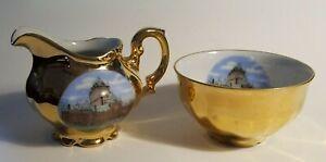 Chateau-Frontenac-Quebec-Canada-Vintage-Creamer-amp-Teacup-Gold-Travel-Souvenir