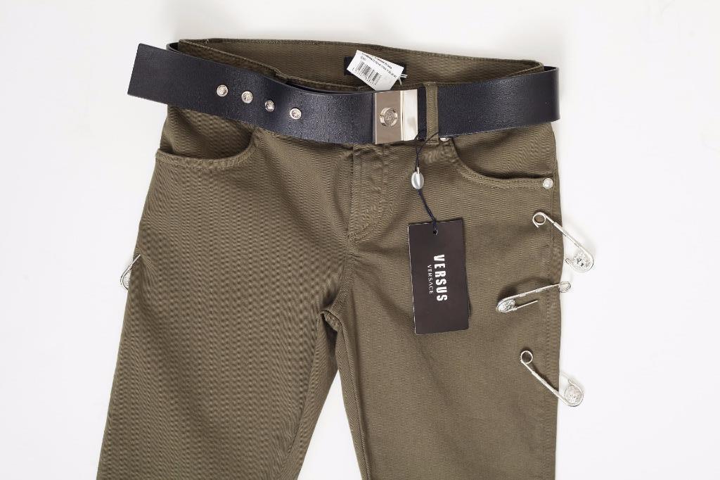 Versus Versace Damen Khaki Grün Sicherheitsnadel mit Gürtel Enganliegende Hose