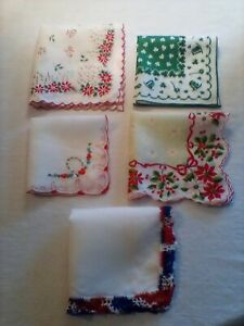 VINTAGE-HOLIDAY-HANDKERCHIEFS-LOT-OF-5-GREAT-COLLECTABLES