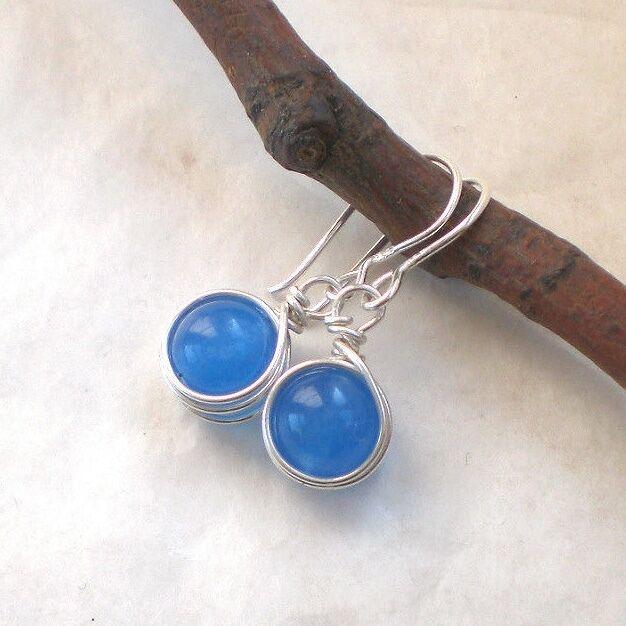 BLAUE ACHAT Ohrringe 925 Silber, Ohrhänger blau rund Sterlingsilber f439