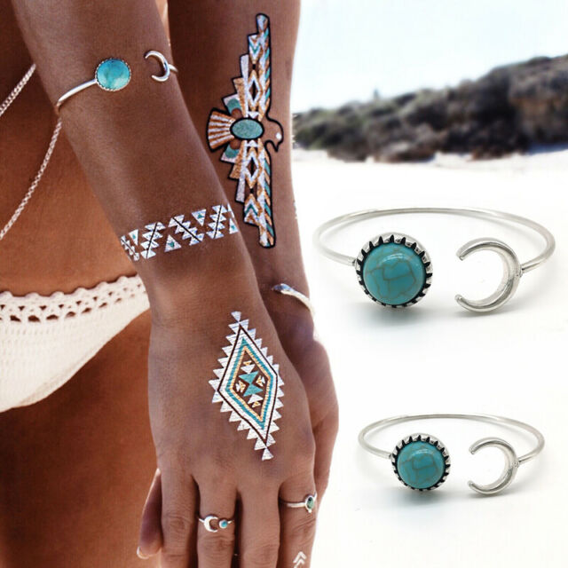 Ethnic Silver Moon Sun Open Bangle Cuff Turquoise Boho Bracelet Adjustable Gift