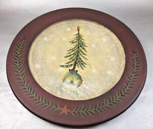 Donna White Primitive Christmas Plate Pine Tree