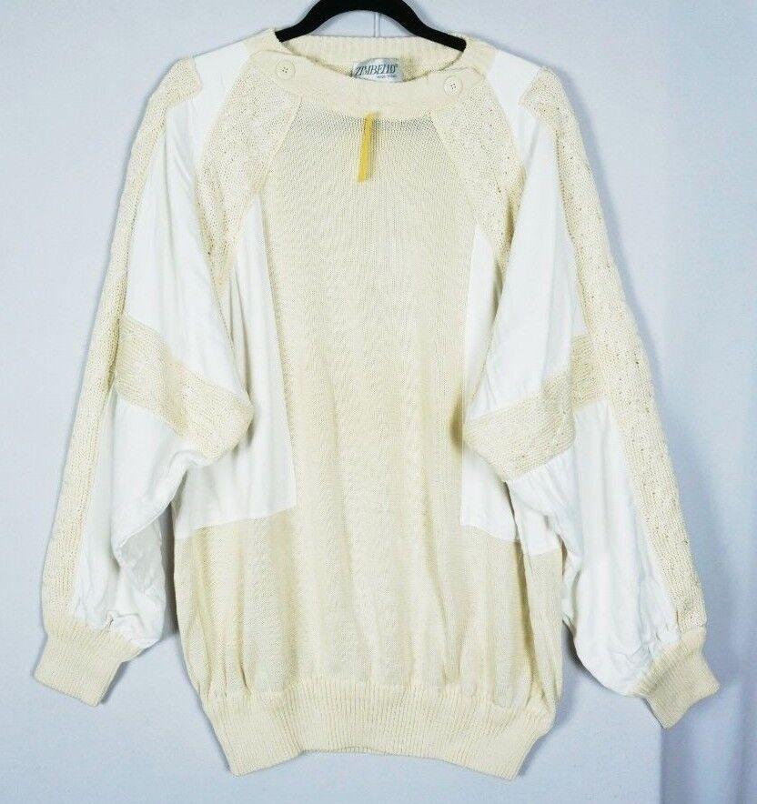 VTG Zimbello  Herren NOS Ivory UNIQUE RARE Sweater Jumper Sz 44 - NWT
