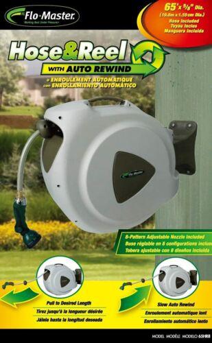 Outdoor Retractable Garden Hose And Reel  65 Ft   Wall Mount Auto Retractable