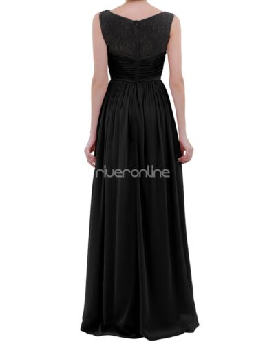 Womens Bridesmaid Lace Chiffon Long Dress Ladies Evening Party Formal Prom Gown