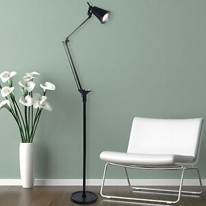 FLOOR LAMP SWIVEL ARM Black Living Room Den Reading 70 Tall LED Light O