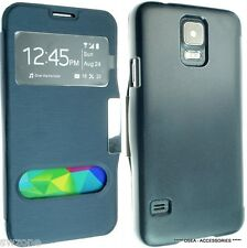 SAMSUNG GALAXY S5 I9600 SV LEATHER CASE COVER WALLET FLIP POUCH WINDOW FREE SP