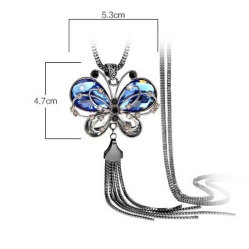 Femme Chaîne Longue Collier Animal cristal bleu bijoux papillon beauté charme