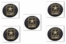 """5 Premium """"Army"""" Automotive Grade Glossy Domed Decal Sticker Emblems 7/8 inch"""