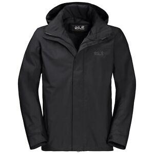Details zu Jack Wolfskin Highland Jacket Men Schwarz Gr. L Wetterschutzjacke wasserdicht
