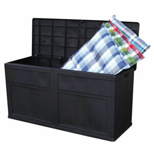 Toomax-Black-Plastic-Indoor-Outdoor-Garden-Storage-Chest-Cushion-Box-320-Litre