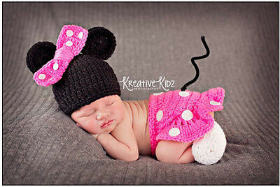 Newborn Baby Girls Boys Crochet Knit Costume Photo Photography Prop Outfit HT