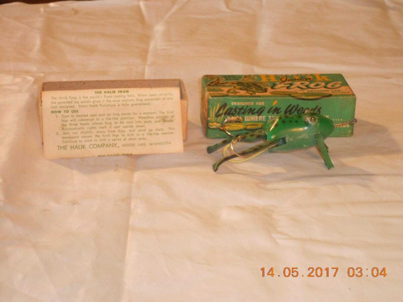 NEVER USED IN ORG. BOX  WITH INSTRUCTIONS GENUINE HALIK CO. MINNESOTA FROG LURE  best quality best price