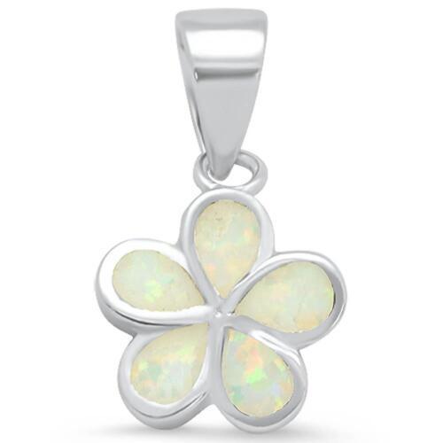 Opale blanc Plumeria .925 Pendentif en argent sterling