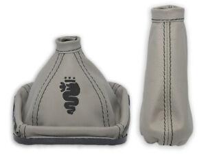 Funda para palanca de cambios en cuero gris con logo bordado negro
