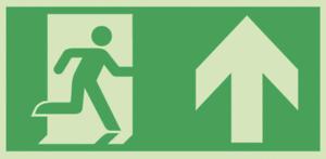 Fluchtweg Notausgang Pfeil oben geradeaus Schild nachleuchtend selbstklebend