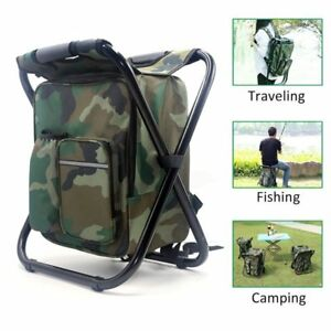 Outdoor Folding Stool Portable Backpack Chair Stool Fishing Chair With Insulated Cooler Bag For Camping Fishing Hiking Beach Costumes & Accessories