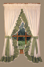 """Madelyn Country Ruffled Priscilla Curtains Natural Sage Green Lace Accent 84"""""""