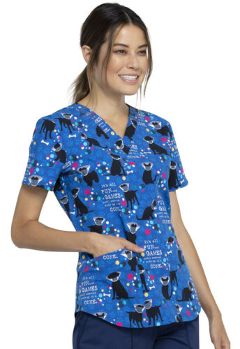 All Fun And Games Cherokee Scrubs Dog Is Good V Neck Top CK652 OGAF
