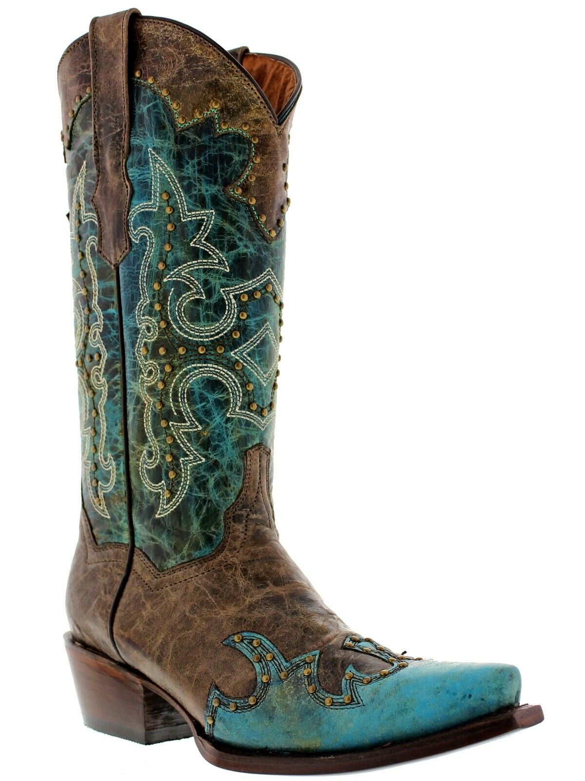 damen Turquoise Studded Cowgirl Leather Western Stiefel Stiefel Stiefel Distressed Snip Toe 25af74