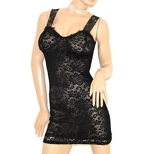 Caricamento dell immagine in corso TOP-NERO-donna-CANOTTA-LUNGA-abito- vestito-pizzo- 82a0aa33ce8