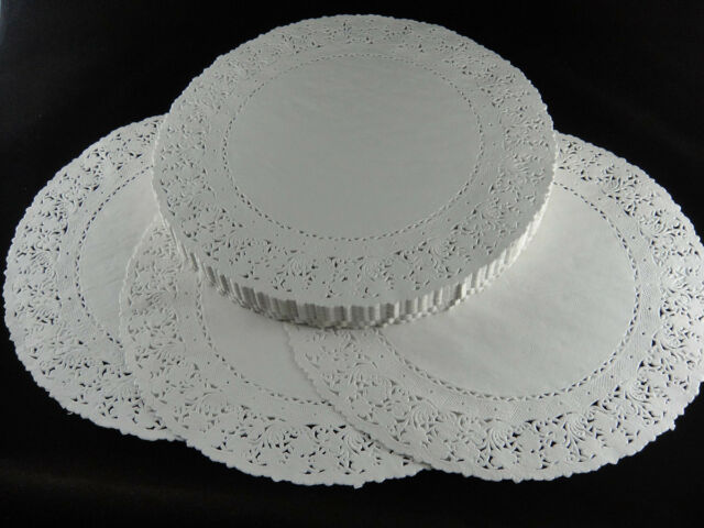 "250pcs 9.5"" WHITE ROUND PAPER LACE DOILIES CRAFTS PLACEMAT WEDDING"