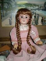 C.perruque Pour Poupee Ancienne À Tête Porcelaine Blond Venitien Tour Tête 29 Cm