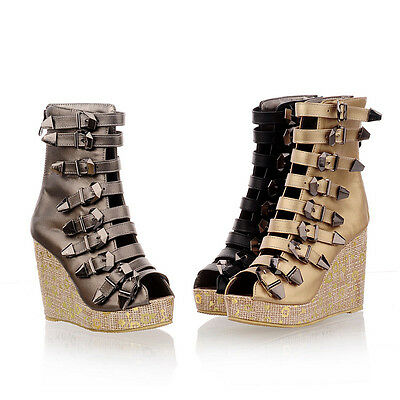 Gladiator Roman BUCKLE Sandals Womens Wedge Platform High Heels Pump Ankle Boots