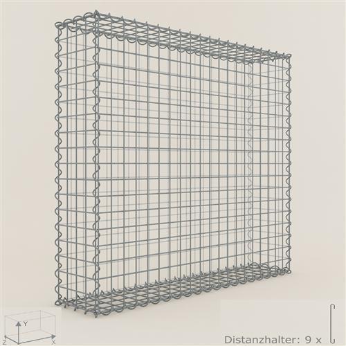 Gabione piedra cesta de 100 x 90 x 20 cm, anchura de malla 5 x 5 CM, Gabionen