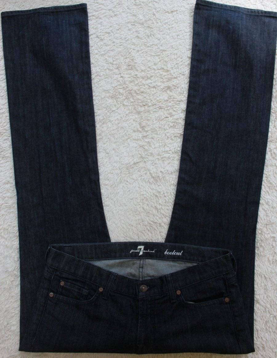 SEVEN 7 FOR ALL MANKIND Jeans Dark Bootcut Trouser-Like Tag=31 Actual=32.5 x 34