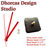 (05) Quartz Clock Movement 1/2 Threaded Long Shaft Quiet Motor & Red 5 Hand