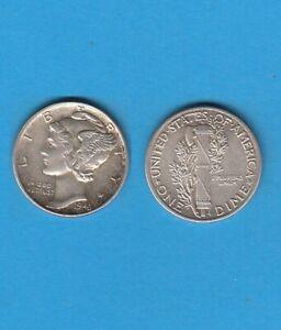 $ Etats-unis One Mercury Dime 1943 Philadelphia Silver Coin Usa Douceur AgréAble