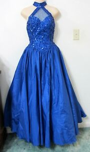 MIKE-BENET-XS-PROM-Dress-Ballgown-Blue-Formal-Pageant-Gown-PETTICOAT-Vintage