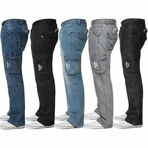 Enzo-Mens-Cargo-Combat-Trousers-Jeans-Work-Casual-Denim-Pants-Big-Tall-All-Waist