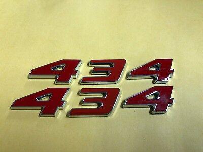 NEW 434 STROKER ENGINE ID HOOD SCOOP FENDER QUARTER TRUNK EMBLEMS RED
