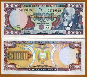 Image Is Loading Ecuador 50000 50 000 Sucres 12 7 1999
