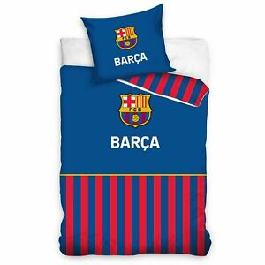 Fc-Barcelona-Barca-Rayure-Housse-Couette-Simple-Set-Club-Iconic-Enfants-2-IN-1