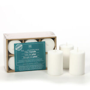 Hosley-039-s-Set-of-6-White-3-034-High-Flat-Top-Unscented-Pillar-Candle-O4