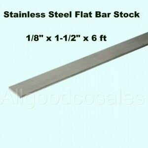 Stainless Steel Flat Bar Stock 1//8 Inch x 1//2 in x 6 ft Rectangular Mill Finish