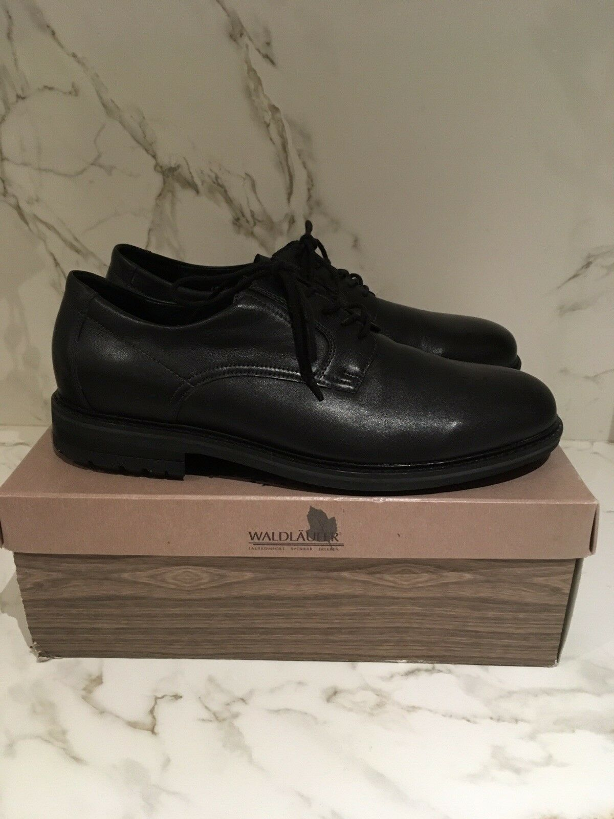 WALDLAUFER Gents Black Leather Lace Up shoes. U.K 12. Cost  New With Box