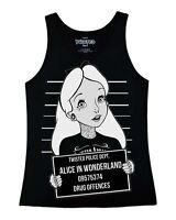 Twisted Punk Disney Alice In Wonderland Mug Shot Tattoo Vest Top emo gothic